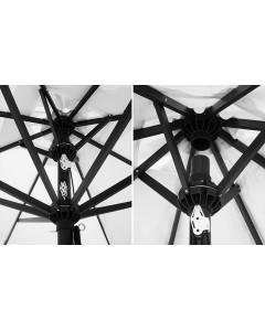 sistema a doppio ragno che consente la chiusura sopra i tavoli sottostanti