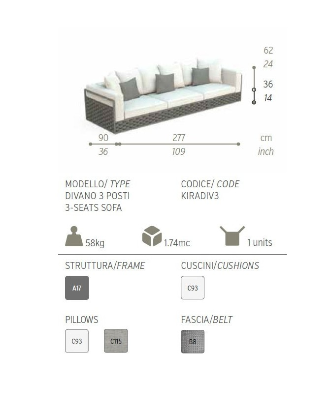 Talenti Kira divano da giardino 3 posti dimensioni 90 x 277 H.62 cm