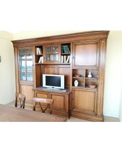 AM Mobile soggiorno in legno di noce massello con intarsi a mano