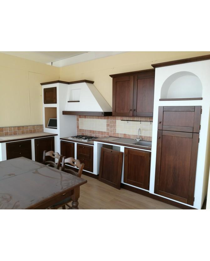 Cucina A M composizione ad angolo in legno massello di noce