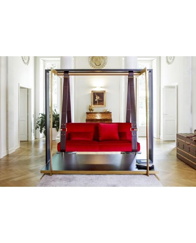 Valdichienti divano sospeso dondolo cinghie in cuoio for Divano a dondolo